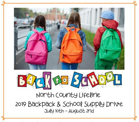 three kids wearing bag pack looking away from the camera with text back to school north county lifeline 2019 backpack and school supply drive july 10th - august 2nd.jpg